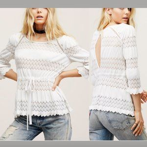 NWD Free People Fire Island Open Knit Top White